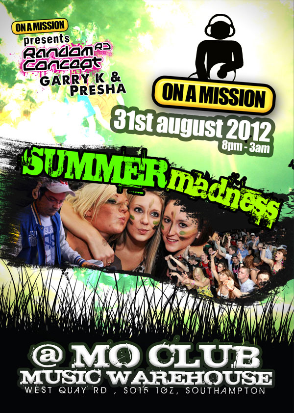 On A Mission Summer Madness 2012 Flyer Front