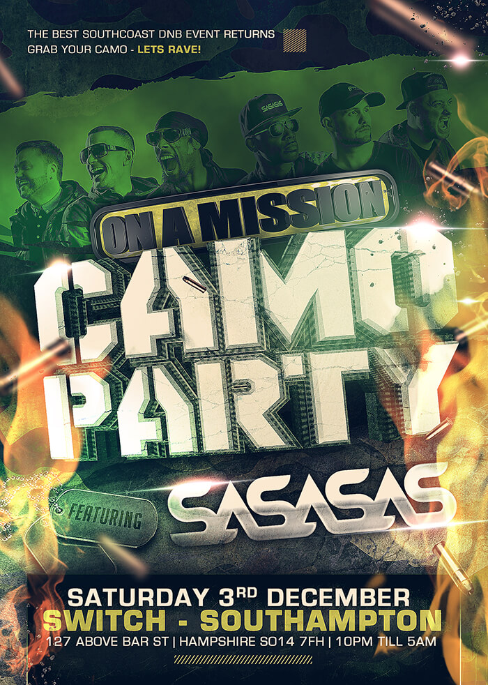 On A Mission Camo Party 2016 Flyer
